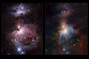The left-hand panel shows the Orion Nebula in visible light. Most of the light from the spectacular clouds comes from hydrogen gas glowing under the fierce ultraviolet glare from the central hot young stars. The region above the centre is clearly obscured by dust clouds. On the right the VISTA infrared view is shown. By observing infrared light many new features appear, including large numbers of young stars close to the centre and many curious red objects, associated with young stars and their outflows, in the region above the centre.