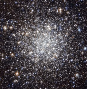 "The  NASA/ESA Hubble Space Telescope has produced this beautiful image of  the globular cluster Messier 56 (also known as M 56 or NGC 6779), which  is located about 33 000 light years away from the Earth in the  constellation of Lyra (The Lyre). The cluster is composed of a large  number of stars, tightly bound to each other by gravity. However,  this was not known when Charles Messier first observed it in January  1779.  He described Messier 56 as ""a nebula without stars"", like most  globular clusters that he discovered — his telescope was not powerful  enough to individually resolve any of the stars visible here, making it  look like a fuzzy ball through his telescope's eyepiece. We clearly see  from Hubble's image how the development of technology over the years has  helped our understanding of astronomical objects. Astronomers  typically infer important properties of globular clusters by looking at  the light of their constituent stars. But they have to be very careful  when they observe objects like Messier 56, which is located close to the  Galactic plane. This region is crowded by ""field-stars"", in other  words, stars in the Milky Way that happen to lie in the same direction  but do not belong to the cluster. These objects can contaminate the  light, and hence undermine the conclusions reached by astronomers.   A  tool often used by scientists for studying stellar clusters is the  colour-magnitude (or Hertzsprung-Russell) diagram. This chart compares  the brightness and colour of stars – which in turn, tells scientists  what the surface temperature of a star is. By  comparing high quality observations taken with the Hubble Space  Telescope with results from the standard theory of stellar evolution,  astronomers can characterise the properties of a cluster. In the case of  Messier 56, this includes its age, which at 13 billion years is  approximately three times the age of the Sun. Furthermore, they have  also been able to study the chemical"