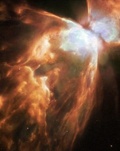 The Bug Nebula, NGC 6302, is one of the brightest and most extreme planetary nebulae known. At its centre lies a superhot, dying star smothered in a blanket of hailstones. A new Hubble image reveals fresh detail in the wings of this cosmic butterfly. Most planetary nebulae are distinctive, but few are as extreme as NGC 6302, also known as the Bug Nebula. The fiery, dying star at its centre is shrouded by a blanket of icy hailstones.