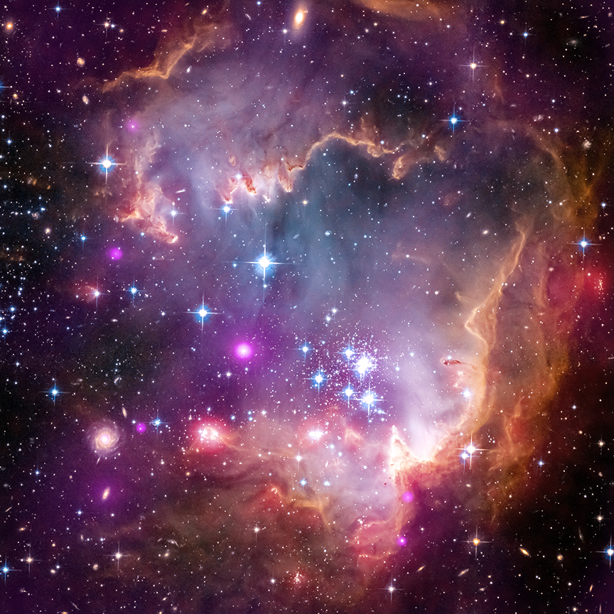 """New Chandra observations have been used to make the first detection of X-ray emission from young stars with masses similar to our Sun outside our Milky Way galaxy. The Chandra observations of these low-mass stars were made of the region known as the """"Wing"""" of the Small Magellanic Cloud (SMC), one of the Milky Way's closest galactic neighbors. In this composite image of the Wing the Chandra data is shown in purple, optical data from the Hubble Space Telescope is shown in red, green and blue and infrared data from the Spitzer Space Telescope is shown in red. Astronomers call all elements heavier than hydrogen and helium - that is, with more than two protons in the atom's nucleus - """"metals"""". The Wing is a region known to have fewer metals compared to most areas within the Milky Way. The Chandra results imply that the young, metal-poor stars in NGC 602a produce X-rays in a manner similar to stars with much higher metal content found in the Orion cluster in our galaxy."""