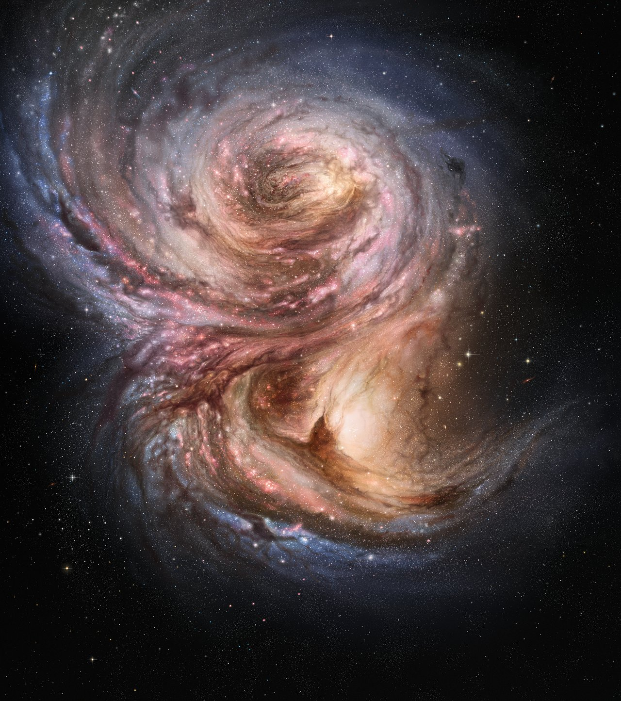 "This artist's impression of the distant galaxy SMM J2135-0102 shows large bright clouds a few hundred light-years in size, which are regions of active star formation. These ""star factories"" are similar in size to those in the Milky Way, but one hundred times more luminous, suggesting that star formation in the early life of these galaxies is a much more vigorous process than typically found in local galaxies."