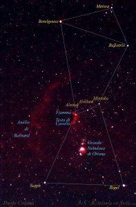 La costellazione di Orione con i nomi delle sue nebulose e stelle più brillanti. Foto di Paolo Colona.