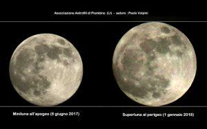 La superluna dell'1 gennaio 2018 a confronto con la più piccola Luna piena del 2017. (Adattamento di Paolo Colona)