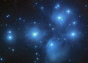 Fotografia a lunga posa dell'ammasso delle Pleiadi nel Toro. E' ben visibile la nebulosa che lo avvolge.