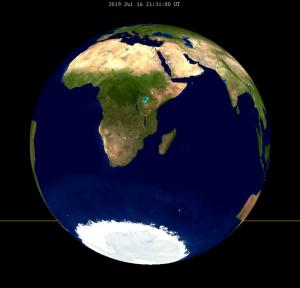 L'orientamento della Terra visto dalla Luna durante l'eclissi